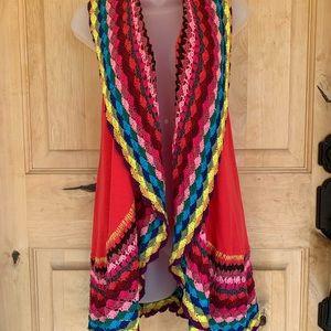 Double Zero Boho Style Colorful Open Knit Vest